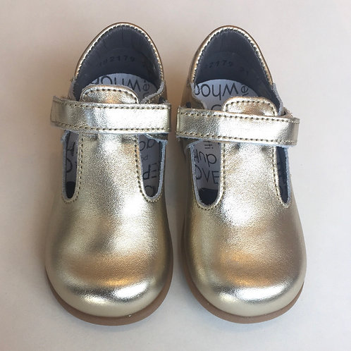 T-bar First Walkers by Bo Bell Gold shoes