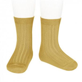 Women's Condor Ribbed Ankle Socks - Mustard