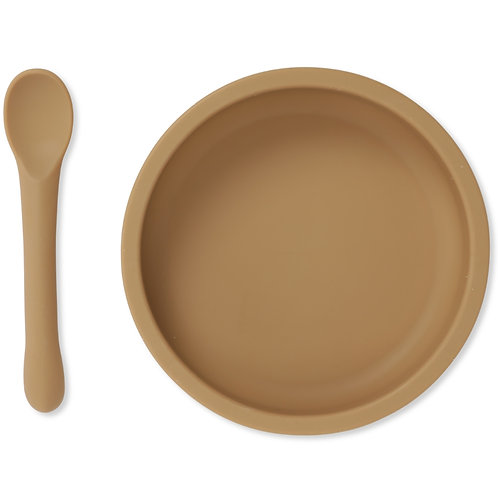 Konges Slojd Silicone Bowl & Spoon Set - Almond