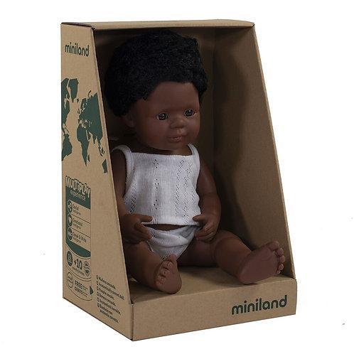 Miniland 38cm Toddler Doll - African Boy