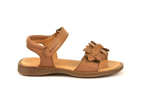 Froddo Girls Flower Sandals Cognac brown tan leather shoes