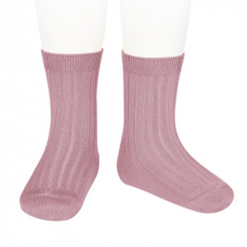 Condor Kids Ribbed Ankle Socks - Rose Pink (tamarisk)