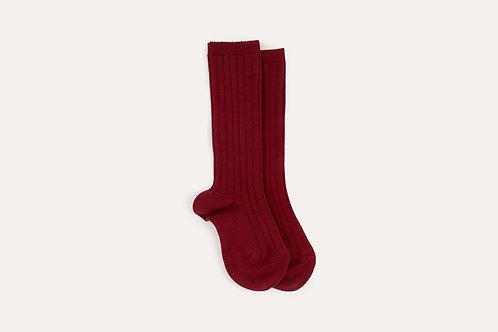 Condor Ribbed Knee Socks in Red Garnet (Burgundy)