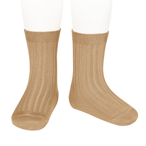 Adults Condor Ribbed Ankle Socks - Camel
