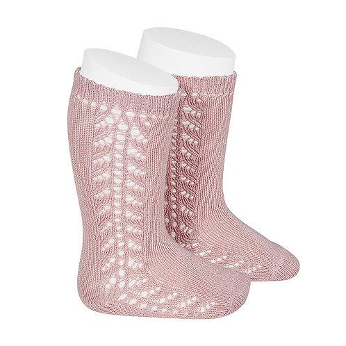 Condor Baby Side Openwork Knee High Socks - Pale Rose