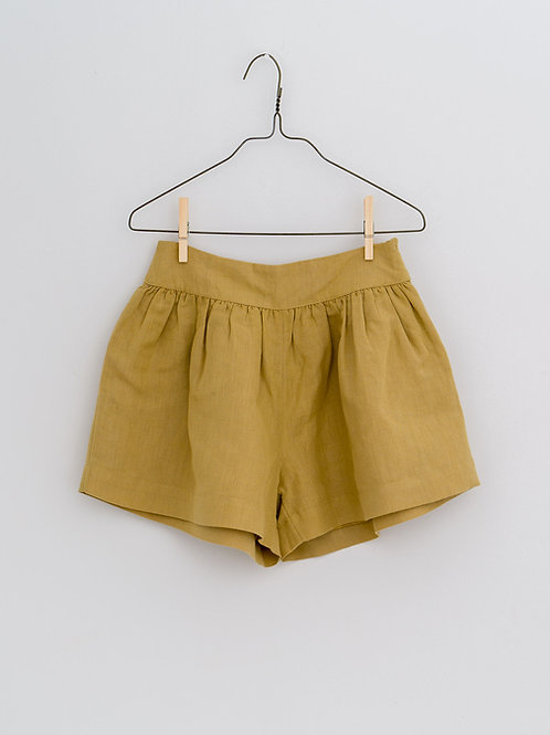 Joanie Shorts in Mustard Linen - Little Cotton Clothes