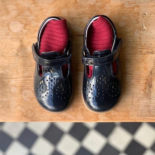 Bo-Bell First Walker Leather T-Bars Navy Patent shoes girls