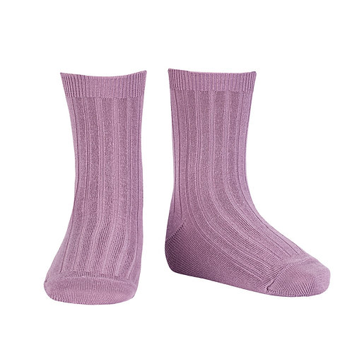 Kids Condor Ribbed Ankle Socks - Amatista/Lilac