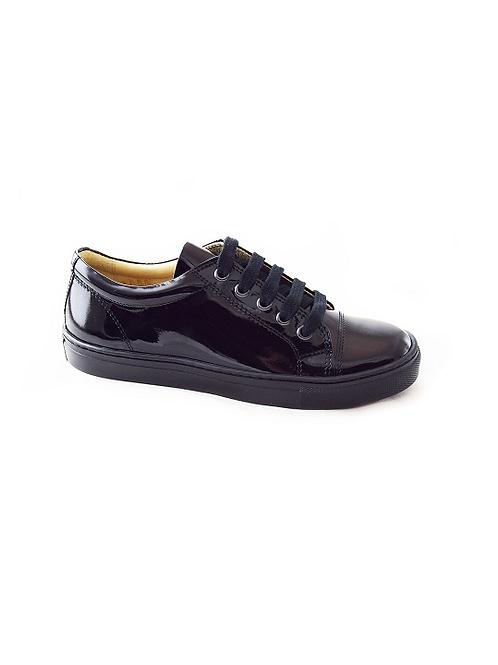 Petasil Peel Lace Up School Shoes Black Patent