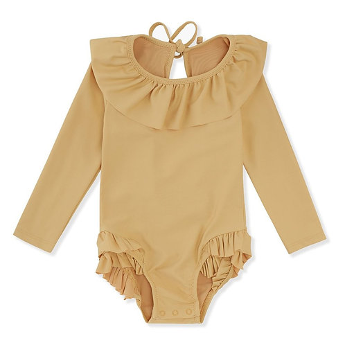 Konges Slojd Manuca Long Sleeve Swimsuit - Orange Sorbet