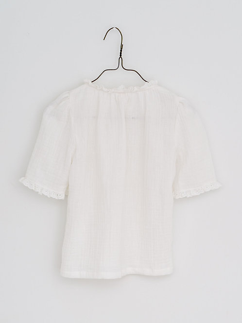 Winnie Muslin Blouse in Off White - Little Cotton Clothes