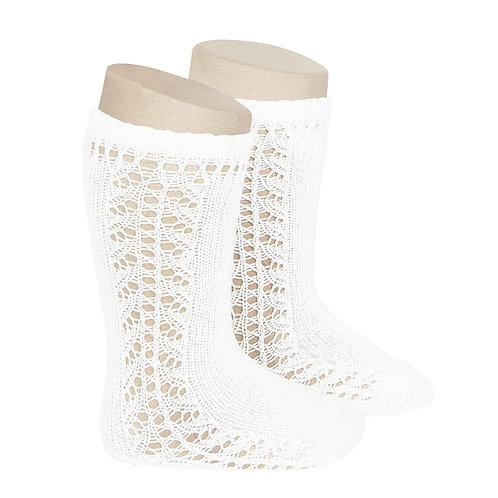 Condor Side Openwork Warm Cotton Knee High Socks - Off White