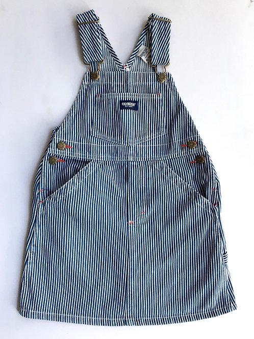 Vintage Original Osh Kosh Stripe Dungaree Dress Age 6 Sacred Hawk denim