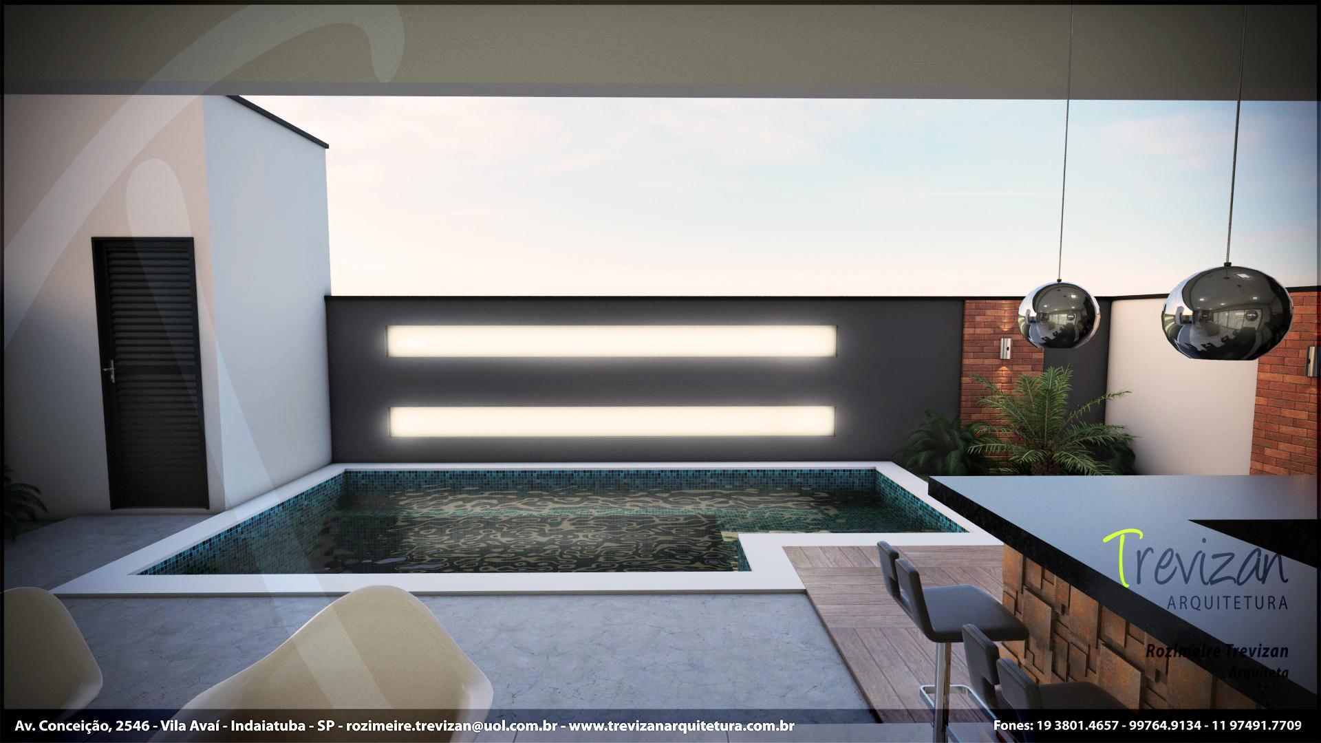 projeto piscina com led Trevizan Arq