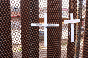 Crosses on the border wall