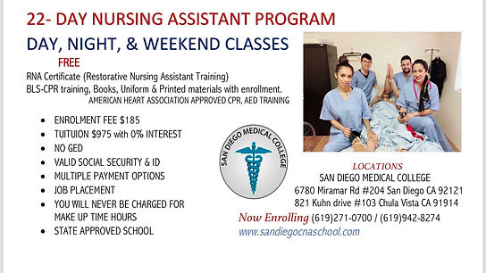 CNA classes in San Diego medical College