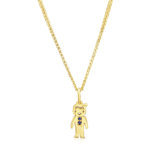 Boy Gold Pendant With CZ