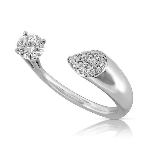 Pear & Round Spiral Diamond Ring