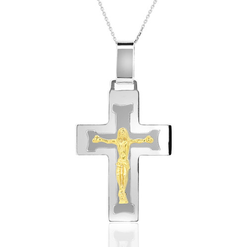 Yellow Gold Jesus & White Gold Cross Pendant