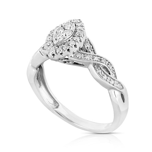 Tangled Diamond Shape Diamond Ring