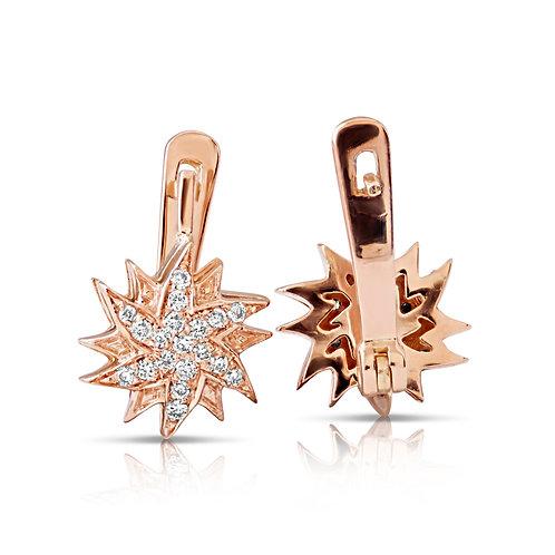 Rose Gold Dual Star Diamond Earrings