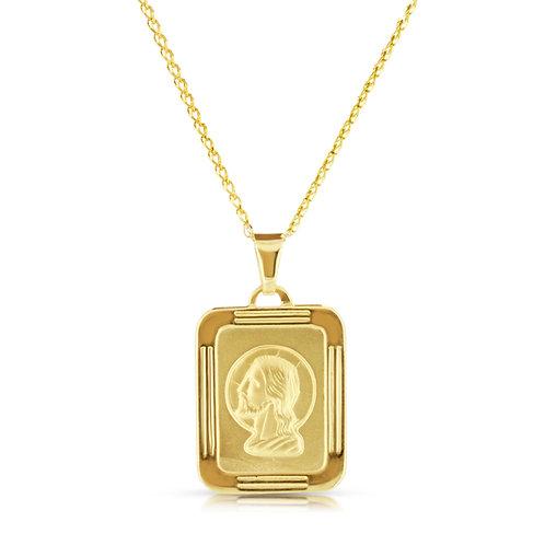 14K Gold Border Jesus Pendant