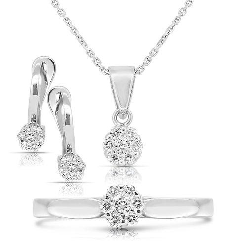 Pave Flower Blossom Solitaire Diamond Set