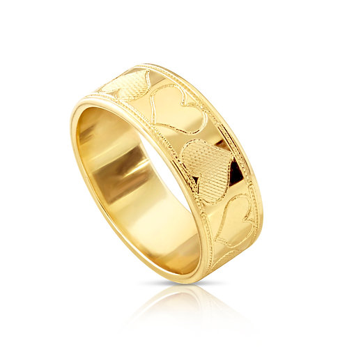 Engraved Hearts Wedding Ring
