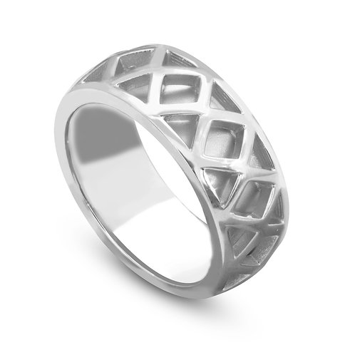 Decorated Diamond Shape Wedding Ring