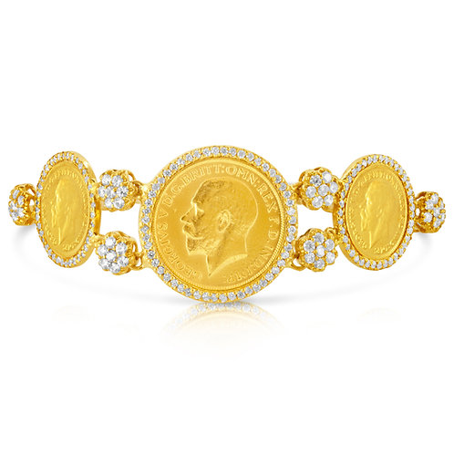 Golden Coins With CZ Flowers Bracelet