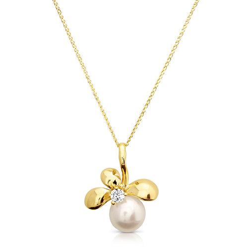 Golden Flower With Pearl & CZ Pendant