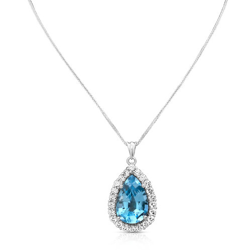 Pear Topaz & Diamond Inlaid Diana Pendant