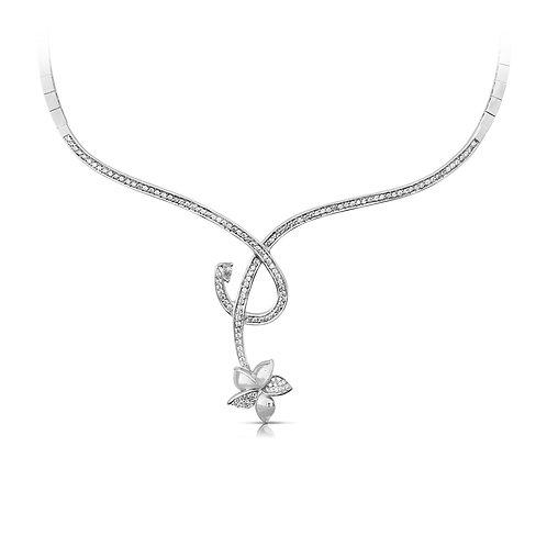 Modern Bridal Diamond Leaf Necklace