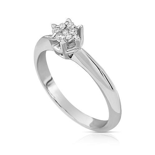 Elegant Diamond Flower Ring