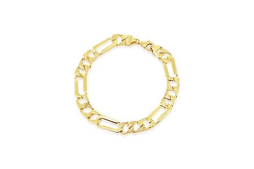 14K Oriental Engravings Yellow Gourmet Bracelet