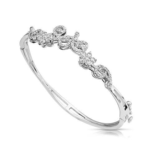 Diamond Decorated Flowers Bracelet