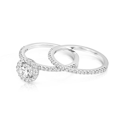 Thin Diamond Collar Engagement Set