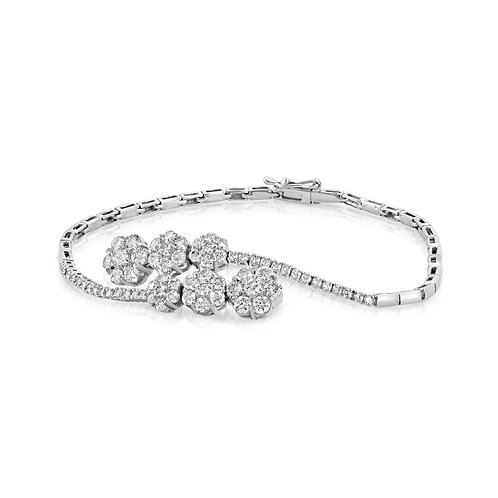 3 Gradual Flowers Diamond Bracelet