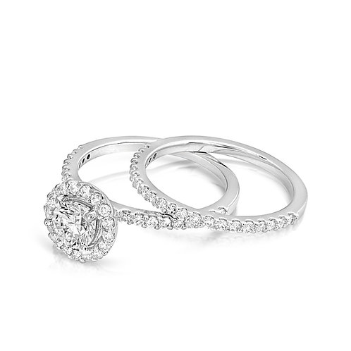 Thin Diamond Collar Engagement Set