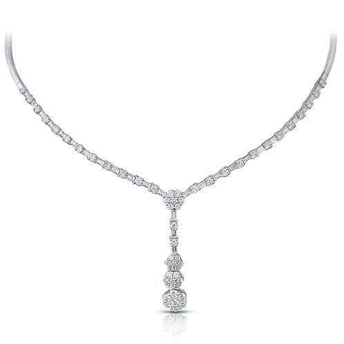 Neat Flowery Diamond Bridal Necklace