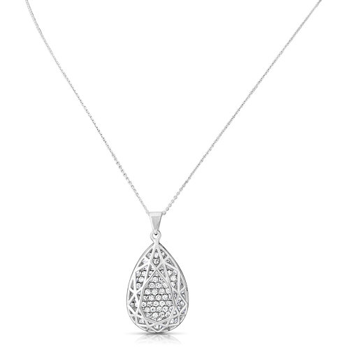 Sleek Modern Structure Diamond Drop Pendant