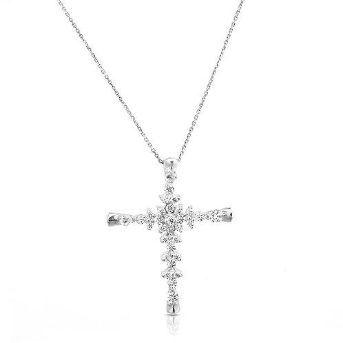 Large Diamond Bethlehem Inlaid Cross Pendant