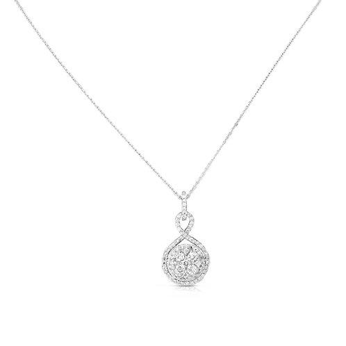 Diverse Diamond Sizes Spiral Hold Pendant