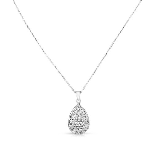 Sleek Modern Structure Diamond Drop Pendant