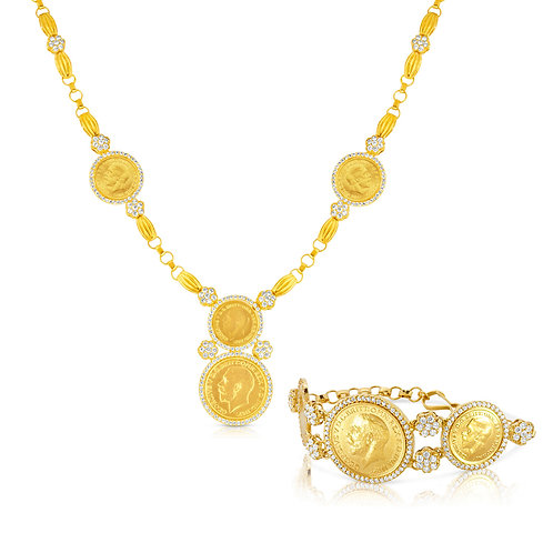 Golden Coins With CZ Flowers Set
