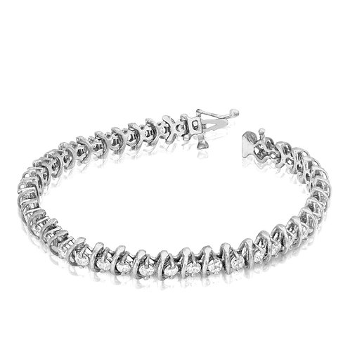Modern Belt Wheel Diamond Tennis Bracelet