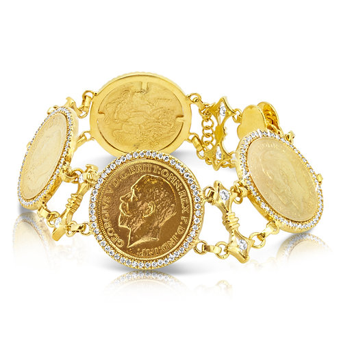 21K Golden Coins with CZ Bracelet