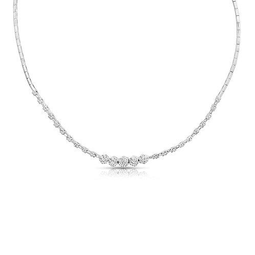 Baguette Diamonds & Flowers Necklace