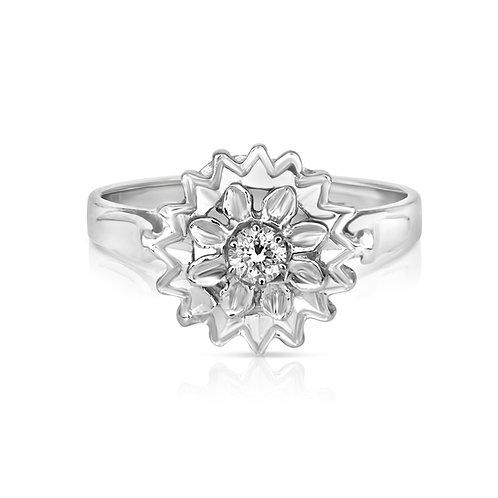 Diamond Jasmine Flower Solitaire Ring