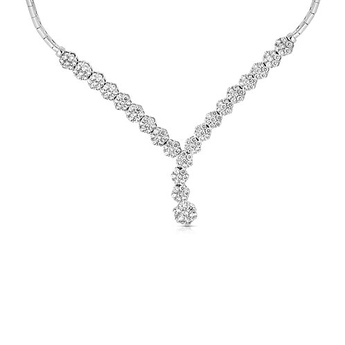 Diamond Bridal Flowers Necklace